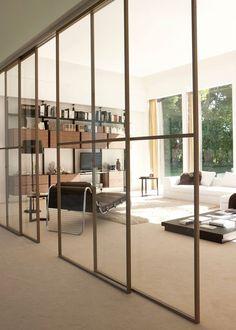 Be@t - composizione scorrevole noce canaletto vetro trasparente