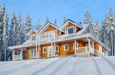 Log home with amazing porches and snow