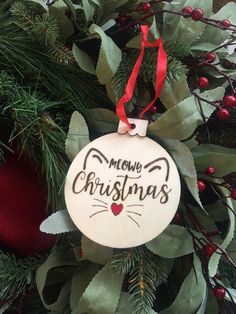 Your place to buy and sell all things handmade Excited to share this item from my shop: Meowy Christmas Christmas Door Wreaths, Wooden Christmas Ornaments, Cool Christmas Trees, Christmas Cats, Christmas Projects, Holiday Crafts, Christmas Diy Gifts, Custom Ornaments, Ornament Crafts