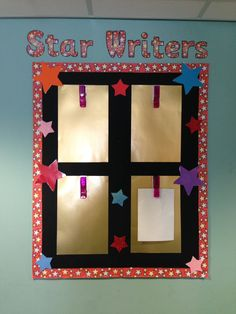A key stage one star writers display - peg their work on each week. Or even just star work! Phonics Display, Literacy Display, Teaching Displays, Class Displays, School Displays, Reading Display, Classroom Display Boards, Classroom Organisation, Bulletin Boards