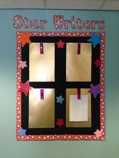 A key stage one star writers display - peg their work on each week.