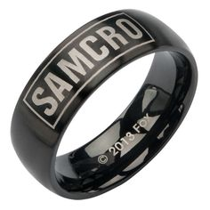 "Sons of Anarchy IP Black ""SAMCRO"" Stainless Steel Ring"