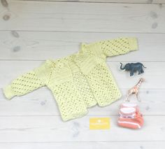 Knitted Baby Cardigan 0-6 months, Vintage Baby Girl Jumper in Yellow Knit, 60s Baby Sweater, Scandinavian Baby Clothes, Vintage Baby Clothes by ElleBelleVin on Etsy