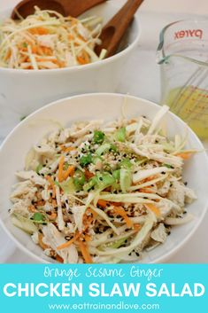 Click here for the recipe for this delicious and easy to make Orange Sesame Ginger Chicken slaw salad. This salad is crunchy and loaded with delicious fresh flavor for the perfect meal that you can easily meal prep. Plus this makes a perfect side dish for a summertime barbecue! Healthy recipes   salad recipes   chicken salad   side dishes   clean eating   meal prep   summer salad