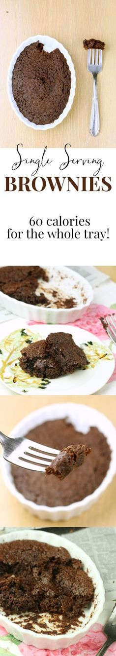 Single serve brownie - This single serving brownie is magical Tastes just like Ghirardelli, but ready in 2 minutes and only 60 calories for the whole giant tray Heaven Paleo Dessert, Healthy Dessert Recipes, Just Desserts, Delicious Desserts, Yummy Food, Vegetarian Recipes, Vegetable Recipes, Dinner Recipes, Healthy Deserts