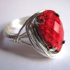 Silver Wire Wrapped Ring Blood Red Goth Teardrop by gimmethatthing, £9.75