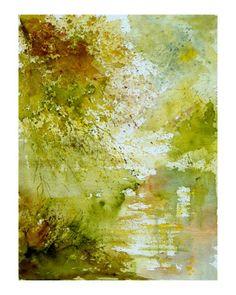 A drippy splashy vibrant watercolor work by Belgian-born artist Pol Ledent.