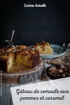 La recette du gâteau de semoule aux pommes et caramel #cuisineactuelle #pommes #caramel Caramel, Crepes, Tiramisu, Camembert Cheese, Yogurt, French Toast, Muffins, Ice Cream, Pudding