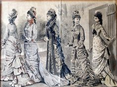 This set of 1800s hand colored, engraved fashion prints are an astounding example of both fashion and advertising history. These were all