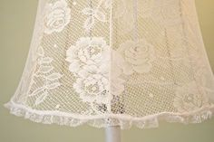 DIY: How to Cover a Lampshade with Lace - using glue, lace and clips - via The Polka Dot Closet