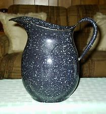 Antique Speckled Graniteware Enamel Lrge Water Pitcher USN Vollrath Co. WWII GUC