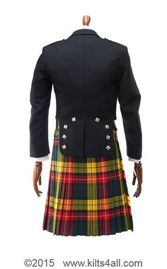 Prince Charlie jacket and waistcoat with chrome buttons and Buchanan Modern kilt - available for you to purchase or hire from Kilts4all, Kings Cross, London