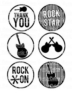 XXXX     Black and White  Digital Circle Tag Toppers PRINTABLES   only available for purchase