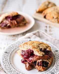 Blackberry Cardamom Scones with Chocolate Cream Coconut Milk Chocolate, Chocolate Cream, Condensed Coconut Milk, Coconut Cream, Vegan Butter, Scones, My Recipes, Blackberry, Meals