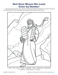 Ten Commandments Color by Number | Bible Pictures for Kids