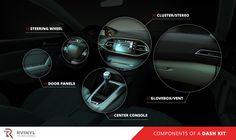 Brushed Black Aluminum Rvinyl Rdash Dash Kit Decal Trim for Kia Sedona 2006-2014