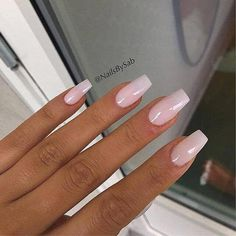 Long Light Pink Acrylic Nails With A Square Tip #AcrylicNailsForSummer Light Pink Acrylic Nails, Best Acrylic Nails, Nail Pink, Acrylic Gel, Light Nails, White Tip Acrylic Nails, Pink Tip Nails, Nail Shapes Squoval, Pink Chrome Nails