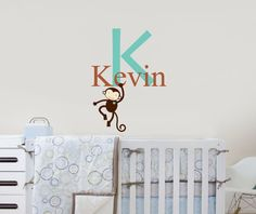 Monkey Swinging Monogram Nursery giraffe Safari decal by OwlHills, $30.00