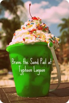 Brave the Sand Pail at Typhoon Lagoon - enormous, scrummy, too much for 4 of us, but cheaper than 4 individual ice creams... Vanilla ice cream, waffle pieces, strawberries, hot choc sauce, hot fudge sauce, cream, sprinkles, cherries, choc ice cream.... Yum!