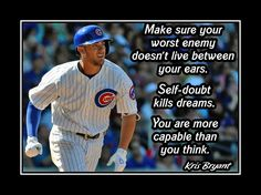 """Baseball Motivation Poster Kris Bryant Cubs Photo Quote Wall Art 8x10""""- 11x14""""…"""