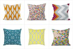 Shop our collection of vibrantly patterned pillows to enliven your sofa or bed. From punchy patterns to wild waves, colorful cushions are a cheeky addition to staid modern furniture for a bit of seasonal fun that won't break the bank. Looking to make a statement? Combine boldly colored designs in varying sizes to create interest and movement.http://www.allmodern.com/deals-and-design-ideas/Pillow-Fight%3A-Under-%2440~E14591.html?refid=SBP.rBAZEVP8pcJM9R0vw4hwAlG-e2eXLEXrsUqvYw_YO1E