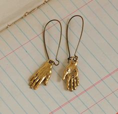 Fun earrings for #Halloween - - - HAND EARRINGS Charms Gold Hand
