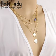 4pcs set layer necklace 18k gold plating women pearl heart layer necklace