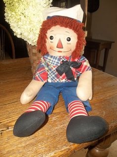 WOW! Original hat, bow-tie and no paint loss on his buttons ~ great item! Vintage 1939 Georgene Raggedy Ann and Andy ANDY Doll OUTLINED NOSE 19""