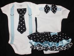 Boy and Girl Twins - Girls Ruffle Onesie Dress and Boys Suspender and Tie (short or long sleeve). $55.00, via Etsy.