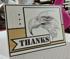 """airbornewife's stamping spot: American Bald Eagle """"THANKS"""" cards *with measurements"""