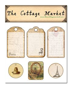 The Cottage Market: Free French Printable tags and some other stuff : ) Ferris Wheel, Eiffel tower, French handwriting, tags, labels, vintage ephemera for DIY craft projects.