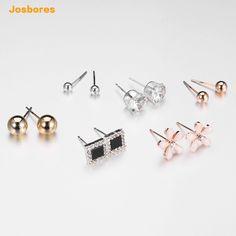 Earrings women sterling silver sweet romantic interlocking circles studs hypoallergenic jewelry gift y3DV6PokDw