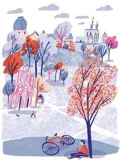 Hannah Warren's illustrations of cycling in London