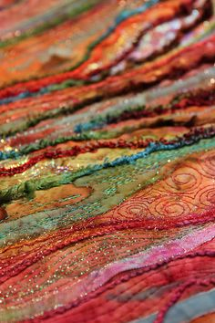 Textiles detail - would love to do these random strips on something.