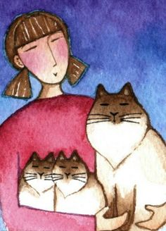 Cat Mom and Himalayan with Kittens...Original ACEO Watercolor Painting. $18.00, via Etsy.