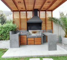 Maybe a kitchen in L with a bar or sink for the stock - Weinregal - Outdoor Kitchen Outdoor Cooking Area, Outdoor Kitchen Design, Outdoor Kitchens, Backyard Bbq, Backyard Landscaping, Design Barbecue, Modern Backyard Design, Modern Pergola, Backyard Designs