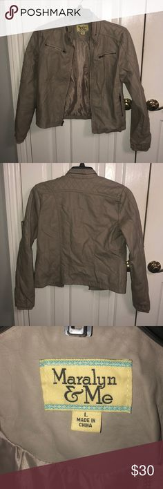 MAKE OFFERS Cute Jacket Size large (juniors)! Great condition! Let me know if you have any questions! I am open to offers, and I urge you to make them because if you don't make offers, then you don't know what I will take!! Thanks for shopping in my closet and feel free to look at my other items because I will give better deals on bundles!! Happy Poshing!! :) Maralyn & Me Jackets & Coats