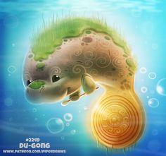 Daily Paint Du-gong by Cryptid-Creations on DeviantArt Cute Food Drawings, Cute Animal Drawings Kawaii, Kawaii Drawings, Cute Fantasy Creatures, Cute Creatures, Mythical Creatures, Creature Drawings, Animal Puns, Cute Disney Wallpaper