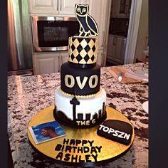 Drake Themed Cake #ovo #drake Drake's Birthday, Birthday Celebration, Birthday Ideas, Drakes Bday, Happy Birthday Ashley, Drake Cake, Friends Cake, Its My Bday, Sweet 16 Parties