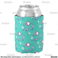 Shooting Stars and Comets Turquoise Beer Sleeve