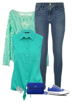 """aqua"" by divacrafts ❤ liked on Polyvore featuring Frame Denim, M&Co, Converse, Kate Spade, Uncommon Matters and Original"