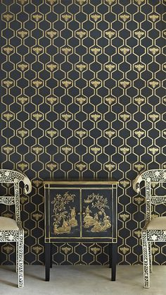 Honey Bees Wallpaper An impressive wallpaper in charcoal with a honeycomb and bee design in gold.