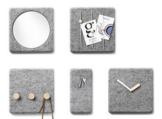 Hmm, these felt wall accessories would look oh-so-soft and organized in an entryway or above a desk, though it could get a little pricey should you choose to spring for several all at once. I smell… Art Decor, Diy Home Decor, Basic Programming, Wall Accessories, All The Colors, Objects, Felt, Clock, Diy Projects