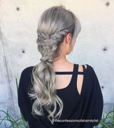 Sweet and simple silver braided pony - Balayage Hairstyle