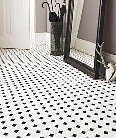 Shapes Octagon Matt White & Black Dot Mosaic (floor main bathroom)