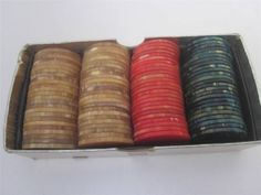 Poker is just more fun when you pay with smooth, classy, classic #Bakelite #PokerChips. Set 100, marbled Butterscotch, Red, Green, great to hold, excellent condition #Catalin. Perfect gift for your favorite card player. www.Connectibles.net