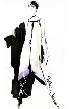Fashion illustration - stylish fashion sketch of model in a Chanel dress // David Downton