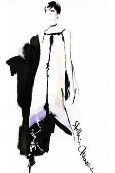 Fashion illustration - stylish fashion sketch of model in a Chanel dress // David Downton