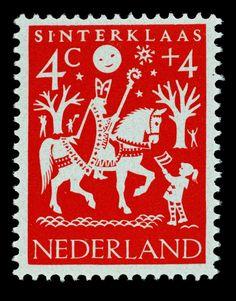 1961 | Hil Bottema | rood | Sinterklaas Welfare Stamp Netherlands. More about stamps: http://sammler.com/stamps/