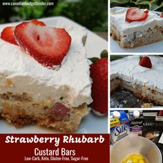Two of my favourite summer fruits strawberries and rhubarb come together to create Strawberry Rhubarb Custard Bars that are low carb and keto-friendly. Rhubarb Keto, Rhubarb Custard Bars, Strawberry Rhubarb Bars, Custard Desserts, Rhubarb Recipes, Keto Desserts, Sweet Desserts, Keto Snacks, Dessert Recipes